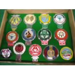 Thirteen car badges to include: BOAC International 500, NF Retail News Agents Booksellers &