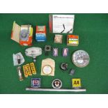 Mixed lot to include: Kent & England badges, four boxed Lodge HLNY sparkplugs, boxed Crypton