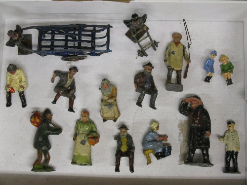 Quantity of early cast metal figures to include: milking maid, cartsman, porter, barrow man, tramp - Image 2 of 3