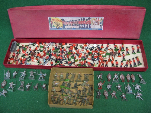 """Quantity of playworn Britains, Crescent, Lone Star and Herald plastic figures in a 35.25"""" x 8.25"""""""