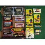 Box of mostly diecast models made by: Corgi, EFE, ERTL, Dinky, Oxford, Dragon and Solido etc