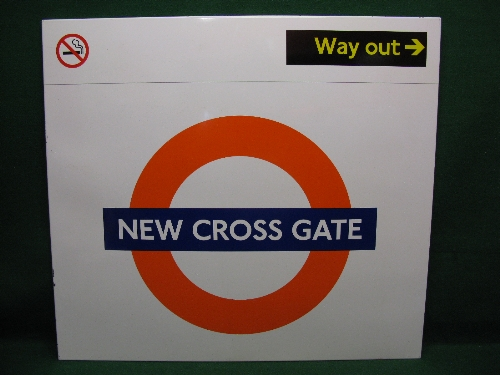 Modern large enamel Overground station sign for New Cross Gate with Way Out in top right corner
