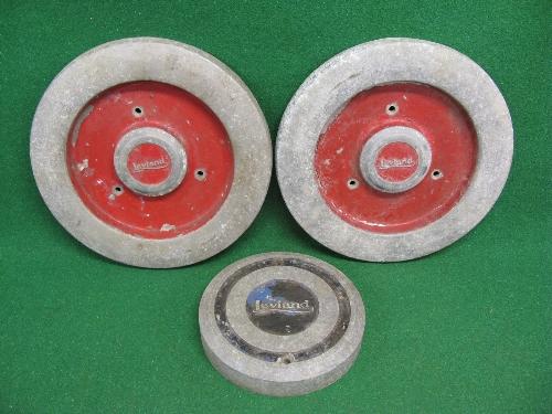 "Three cast aluminium Leyland commercial vehicle wheel embellishments: 1 x 10.5"" dia x 2"" deep with"