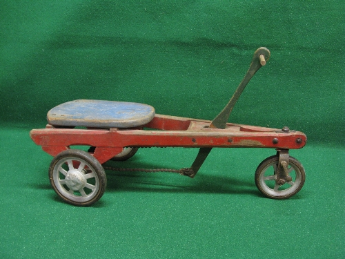 Possibly French wooden hand propelled three wheel trike with foot steering and solid tyre metal - Image 2 of 2