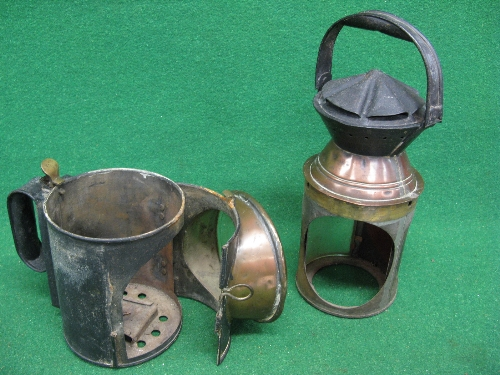 Large Guards triple aspect oil hand lamp (green glass and burner are missing), body embossed MR -
