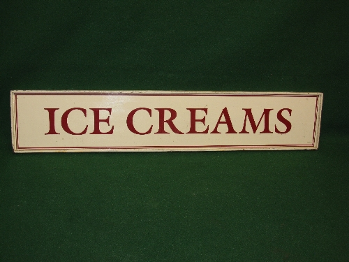 """Wooden sign for Ice Creams, dark red letters and lined border on a cream ground - 12.75"""" x 66.25"""""""