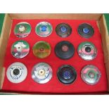 Twelve barnacle etc period tax disc holders for garages in Brighton, Derby, Grays, Hereford, North