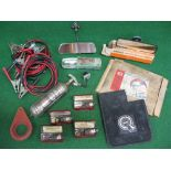 Crate of parts to include: BMC mud flaps, barnacle suction mirror, Wipac reversing light and four