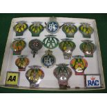 Seventeen assorted AA and RAC car badges Please note descriptions are not condition reports,