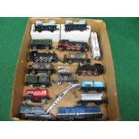 Mixed box of unboxed HO scale locomotives, wagons and crane from Marklin, Jouef, Kleinbahn, Gutzold,
