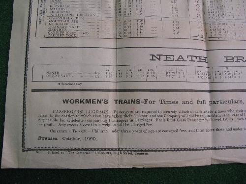 Rhondda & Swansea Bay Railway original large wall poster timetable dated 4th October 1920 Until - Image 3 of 3