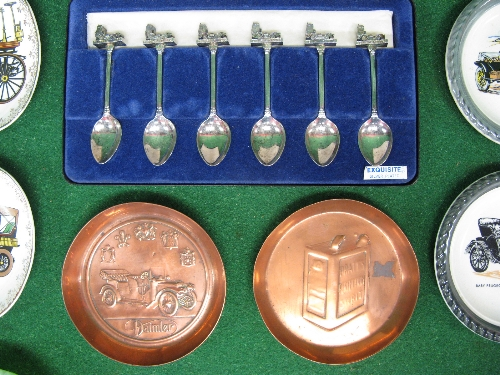 Thirteen china, brass and glass ash/coin trays with car or car motifs (four are Wade) together - Image 2 of 2