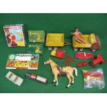 Mixed lot containing: Tonka lorry and trailer, Marx horse, plastic Chrysler by Jo-Han Models-USA,