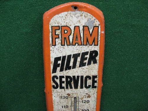 Painted steel sign for Fram Filter Service featuring pictures of Fram oil and air filters as well as - Image 4 of 4