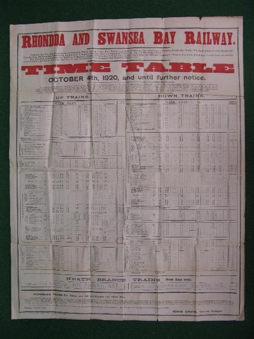 Rhondda & Swansea Bay Railway original large wall poster timetable dated 4th October 1920 Until