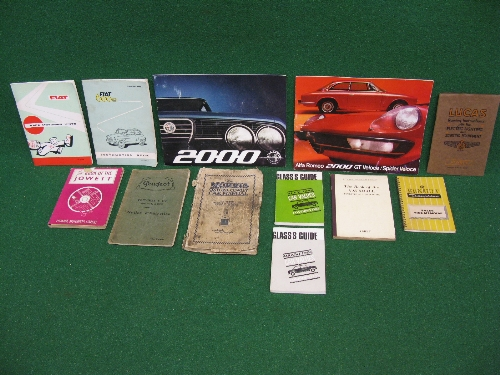 Quantity of car brochures, instruction books etc to include: 1960 Fiat 600D, Renault Dauphine,