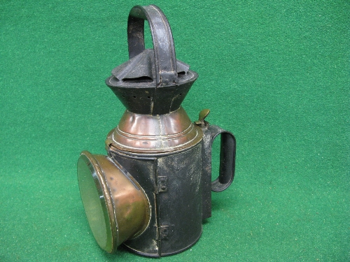 Large Guards triple aspect oil hand lamp (green glass and burner are missing), body embossed MR - - Image 2 of 3