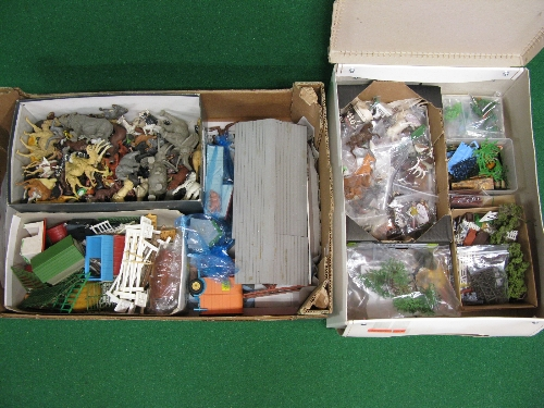 Assorted Britains plastic items to include: farm and zoo animals, figures, equestrian items,