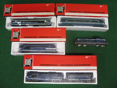 Five Jouef HO scale diesel-electric and electric bogie locomotives, all in SNCF blue livery (four
