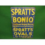 Enamel sign for Spratt's Bonio The Bone Shaped Biscuit and Sprat's Ovals For Every Breed, yellow