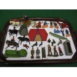 Tray of diecast and plastic figures, gun, car etc to include: J Hill& Co, Roman Chariot, two