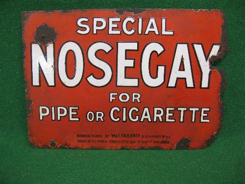 Double sided enamel advertising sign, one side for Imperial Tobacco's Special Nosegay For Pipe Or