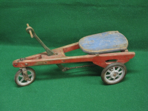 Possibly French wooden hand propelled three wheel trike with foot steering and solid tyre metal