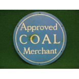 """Circular aluminium sign Approved Coal Merchant, white letters on a blue ground - 12"""" in dia Please"""