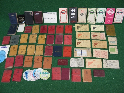 Quantity of driving licenses from 1911-1975, Ration books, bus and trolley bus route maps, old tax