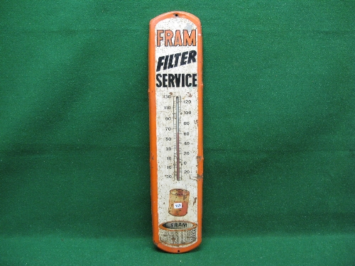 Painted steel sign for Fram Filter Service featuring pictures of Fram oil and air filters as well as