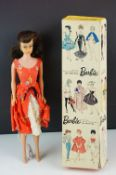 Boxed Mattel Barbie 850 Brunette Ponytail doll marked Midge to behind, tatty box, no shoes, gd