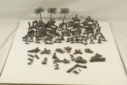 Collection of mid 20th C metal flats figures and accessories, various military subjects plus trees