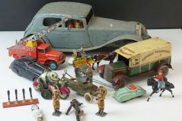 Collection of early - mid 20th C tin plate and diecast models to include Wells O London tin plate,