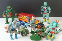 12 x Playworn circa 80's action figures to include Kenner The Real Ghostbusters Egon, 6 x Mattel