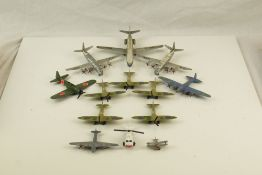 13 x Playworn diecast aviation models to include Dinky, Matchbox, featuring Dinky Caravelle SE