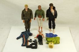 Two original Palitoy Action Man figures plus a 1974 Mego James Bond 007 figure and one other,