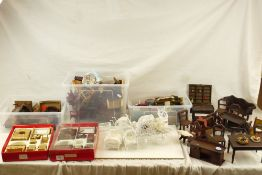 Large collection of various dolls house furniture and accessories, mainly contemporary wooden
