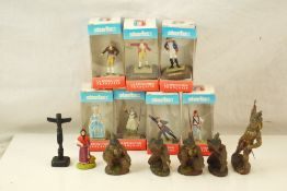 Five original Elastolin Native American figures plus 7 x boxed Starlux La Revolution Francaise