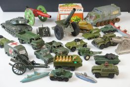 22 x Playworn diecast and tinplate models, mainly military, featuring Dinky ambulance, Solido