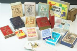 Collection of vintage playing cards and card games to include Jaques Snap and Jaques Happy Families,