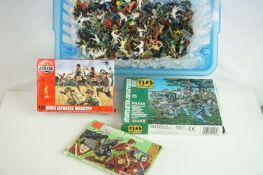 Three boxed plastic figures to include 1:72 scale Airfix A01718 WWII Japanese Infantry, 1:72 scale