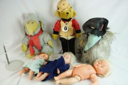 Six playworn dolls and teddy bears to include Merrythought, etc