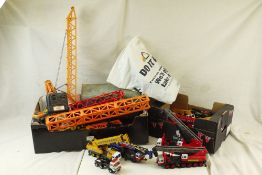 16 x Playworn diecast and plastic construction models to featuring Corgi, Dinky, etc, plus remote