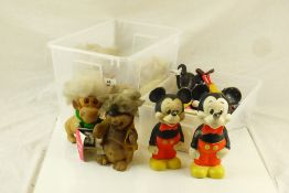 Six circa 1970/80s Mickey Mouse figures including Talking Toothbrush plus 5 x Leprechaun soft