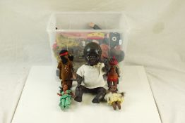 Group of various vintage black dolls to include bisque headed, plastic and cloth, features plastic