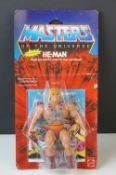 He Man - Carded original Mattel He-Man Masters of the Universe He-Man action figure, tears and bends