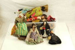 Quantity of small -mid sized vintage dolls featuring china, cloth, primitive, celluloid and