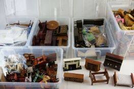 Large quantity of contemporyQ model doll?s house wooden furniture, in five boxes