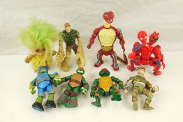 Eight figures to include 2 x original Mattel He Masters of the Universe, 2 x original Playmates