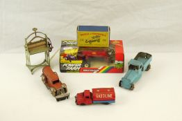 Group of mid 20th C tin plate models to include Haji (Japan) Gasoline Tanker, Gely (Germany)Brush